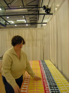 Susan setting up booth
