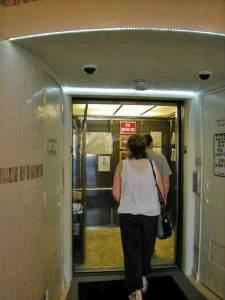 Joanne going in OC Elevator